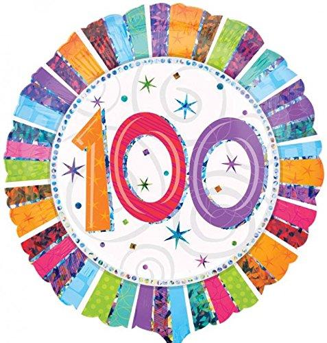 Folienballon Helium 100 Geburtstag mit Ballongas gefüllt! Serie Konfettibunt Holographic 45cm 100 Gas-geschenk-karte