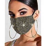 Simsly - Maschere per il viso con strass scintillanti, riutilizzabili, per Halloween, discoteca, decorazione per il viso, gio
