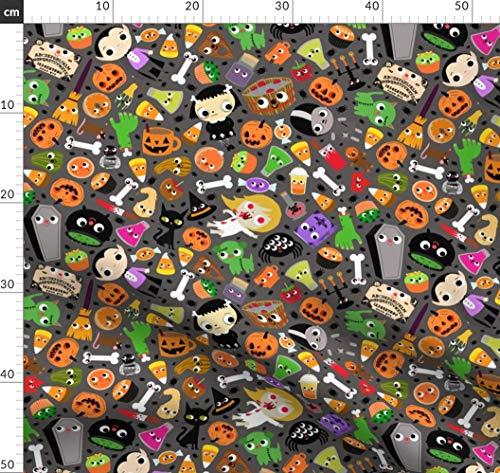 Ausgehöhlter Kürbis, Kürbis, Halloween, Candy Corn, Kawaii, Essen Mit Gesichtern, Sarg Stoffe - Individuell Bedruckt von Spoonflower - Design von Heidikenney Gedruckt auf Chiffon