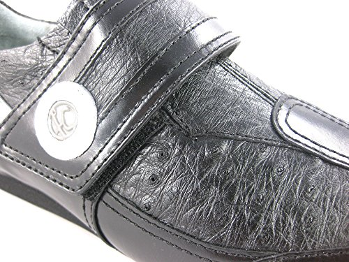 Franco Cuadra Calf and Ostrich Leather Shoes for Men Negro-Gris-Blanco