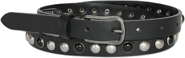 ITALOITALY - Damen Gürtel, Schwarz mit Nieten, Echtes Leder, ca. 2cm, Artisan Produktion, Made in Italy, Kürzbar