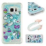 E-Mandala Samsung Galaxy S5 Hülle Glitzer Flüssig Liquid Glitter Case Cover Handyhülle Schutzhülle Transparent mit Muster Durchsichtig Tasche Silikon - Katze Einhorn Cat Unicorn Blau