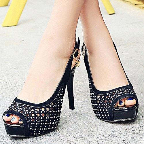 TAOFFEN Femmes Peep Toe Sandales Mode Slingback Aiguille Plateforme Talons Hauts Ete Chaussures Noir
