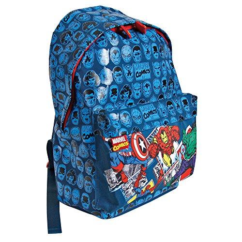 Sac à dos garçon Marvel Comics - Sac à dos pour l'école élémentaire avec bandoulières réglables et impression Hulk, Spiderman, Captain America et Iron Man - Perletti 38x26x16 cm