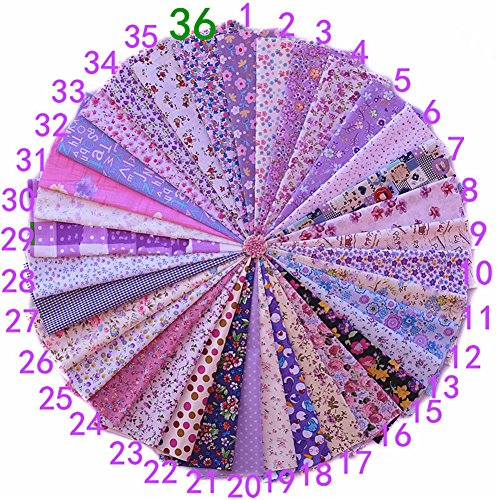 Yiuswoy 36 Stück Baumwolltuch Stoffpakete DIY Artcraft Baumwolltuch Baumwollstoff Patchwork Stoff Stoffreste zum Nähen (20 X 30cm)- Lila