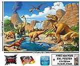 Foto mural Dinosaurio Aventura Habidation de niños - decoración Mundo Dinosaurio Estilo Comic Aventura Jungle Dinosaurio Salto de agua | foto-mural fo