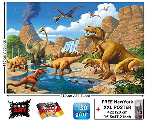 GREAT ART Fototapete Kinderzimmer - Abenteuer Dinosaurier - Wandbild Dekoration Dinowelt Comic Style Jungle Adventure Dinosaurus Wasserfall Foto-Tapete Wandtapete Fotoposter (210x140 cm)