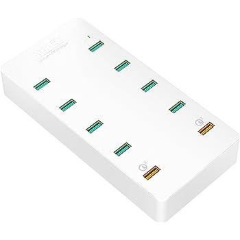 AUKEY Quick Charge 3.0 Chargeur Secteur USB 10 Ports USB pour iPhone 7, iPad Air/Pro, Samsung Galaxy S8 et autres (Blanc)