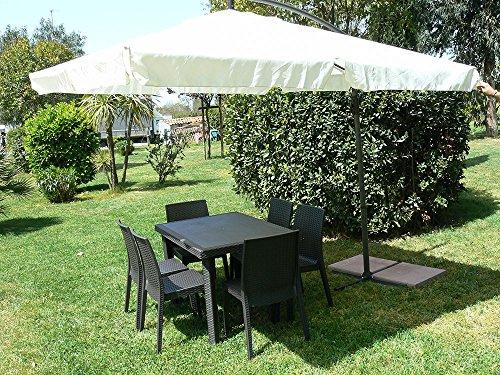 Dimaplast2000 AMZ025 Ombrellone ad Arco, Marrone/Ecrù, 2.5 x 2.5 m