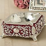 LOSTRYY Portacenere in lega di stile europeo in stile creativo grande grigio casella casa salotto tavolo da visita tazza di fumo, rosso