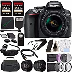Nikon D5300 DSLR Camera with 18-55mm Lens (Black) + Sony 64GB UHS-I SDXC Memory Card (Class 10) + Remote + Flash + Cleaning Cloth Bundle