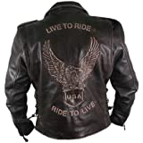 Men's Premium Distressed Retro Brown Embossed Eagle Leather Jackets - Live to Rider Leather Jacket - Ride to Live - USA Leath