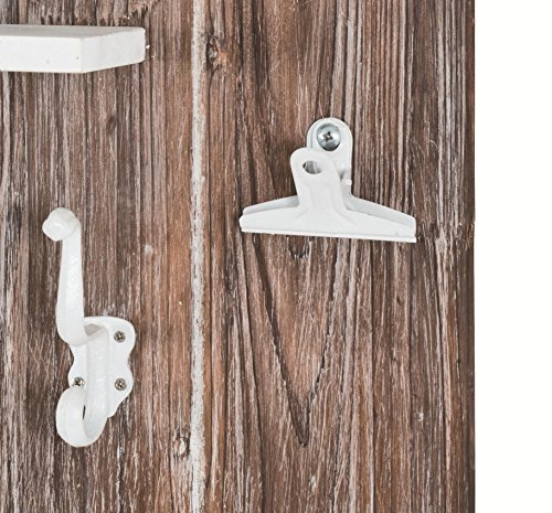 Memoboard aus Massivholz / MDF mit 6 Schlüsselhaken, Körben und Ablage; Maße (B/T/H) in cm: 37 x 9 x 55 - 3