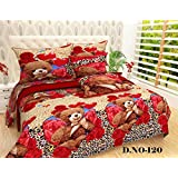 Cotton Double Bed Bedsheet Kids Teddy Bear Print Attractive Colorful With 2 King Size Pillow Covers Set - Bed Sheet Size 90 X 100 Inch And Pillow Cases Size 19X29 (XL/King Size) By P Home Decor
