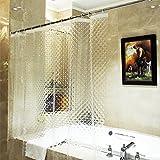 Ecooe Duschvorhänge 3D Wasserwürfel Duschvorhang Transparent 100% EVA-Material Wasserdicht Anti Schimmel, 180 x 200cm mit 12 Ringe Badvorhang für Badezimmer