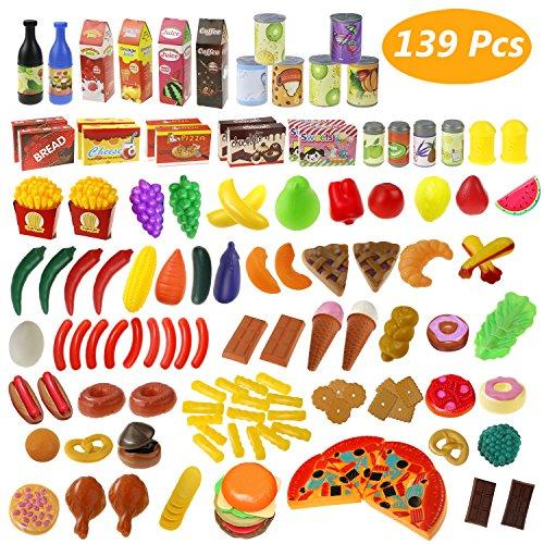 Estela Juguete de Cocina Juego de Comida 139 Piezas Utensilios de Cocina para Niños Regalo, Educación Bebé Niños Juegos para cocinar