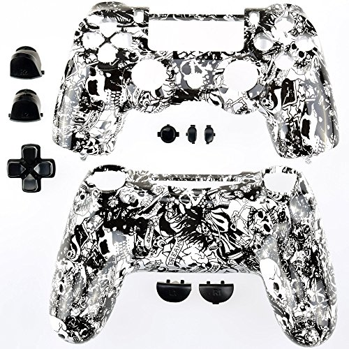 GAMINGER Austauschgehäuse für Sony PlayStation 4 Dualshock 4 Controller Schale Shell Case Housing Kit Hülle Set Skin Zubehör Custom Mod Tuning - Totenkopf Schädel