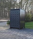 1 Mülltonnenbox Modell No.2 für 240 Liter Mülltonnen / komplett Anthrazit RAL 7016 / witterungsbeständig durch Pulverbeschichtung / mit Klappdeckel und Fronttür