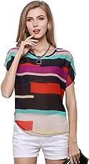 Vodool Fashion Women Chiffon Short Sleeve Colorful Stripe Print Casual Blouse Tops