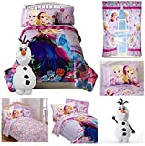 Disney Frozen Girls 7 Piece Bed in a Bag Twin Bedding Set - Reversible Comforter, Sheets, Pillow Case, Olaf Pillow & Window Curtains by Jay Franco & Sons