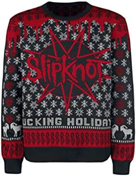 Slipknot Holiday Sweater 2017 Jersey de Punto Negro/Rojo