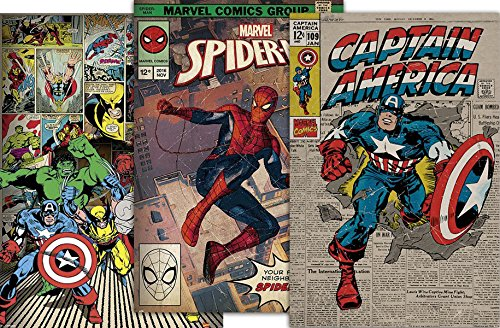 Close Up Marvel Comics Poster - Retro 3er Set - Spider-Man/Captain America/Thor / Hulk/Wolverine / Iron Man, je 61x91,5 cm + Original Tesa Powerstrips (1 Pack/20 Stk.)