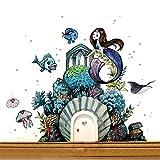 ilka parey wandtattoo-welt® Elfentür Wichteltür mit Wandtattoo Aufkleber Sticker Meerjungfrau Unterwasser mit Fischen und Quallen e18 - ausgewählte Farbe: *weiß*