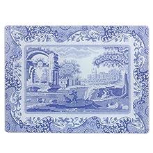 Blue Italian - Proteggi-Piano di Lavoro in Vetro, 30 x 40 cm, Colore: Blu/Bianco