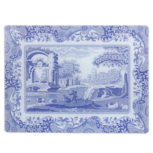 Blau Italienisches 30x 40cm Glas-Arbeitsflächenschutz aus Glas, Blau/Weiß
