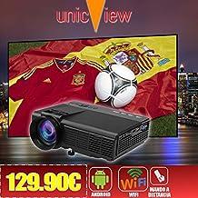 proyector barato Unicview SG150 con ANDROID, WIFI, USB, HDMI, VGA, AC3, Tarjeta TF, 2 años de garantía