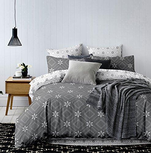 DecoKing Parure de lit Housse de couette 200x200 cm avec 2 Taies d'oreiller 50x75 cm Gris Acier Argent Blanc Hypnosis Snowynight