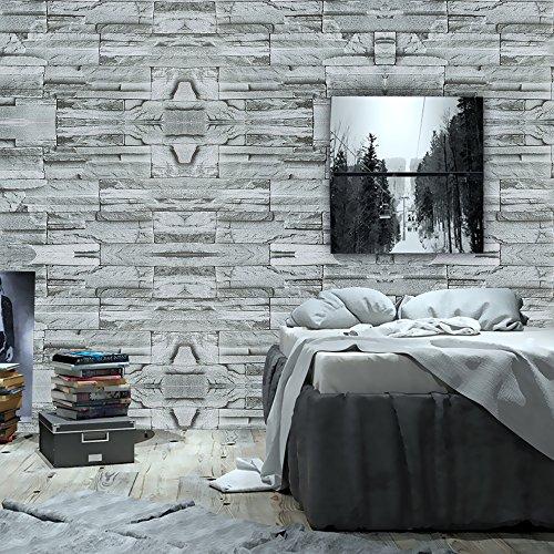 Wopeite Backstein Stein Tapete selbstklebend Rolle Multi Backstein Blöcke Wand Muster Zuhause Zimmer Dekoration für Wohnzimmer Schlafzimmer Grau – Grün 45X1000cm