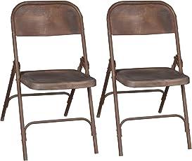 """2 x Vintage Klappstuhl """"Diego"""" aus Metall - rostfrei - Industrial Look - Outdoor Camping Stuhl - Esszimmerstuhl - Küchenstuhl - Gartenstuhl - Balkonstuhl - used look"""