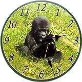 Tinas Collection runde Wanduhr mit einem Affen Motiv, 30 cm Ø