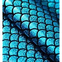 tessuto Jersey sirena scala pesce Tale Foil -2W materiale elasticizzato 112cm blu nero (venduto al metro)