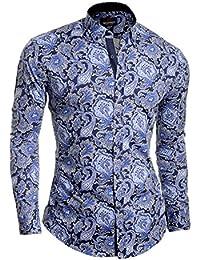 Cipo & Baxx Men's Dress Shirt Casual Paisley Smart Long Sleeve Cotton Slim Fit