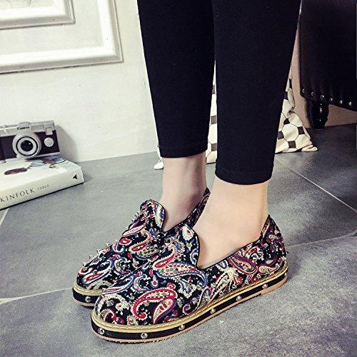 &qq Rivetto/stampa/piatto fondo poco profondo/etnica/donne di/home/calzature/scarpe/comfort/stile Red