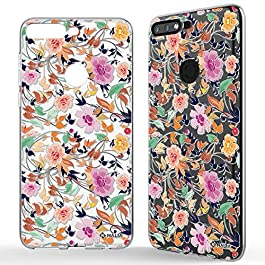 NALIA Motif Case compatible with Huawei Y7 2018, Pattern Silicone Back Cover Protector Soft Skin, Crystal Gel Shockproof Smart-Phone Bumper, Slim Transparent Protective