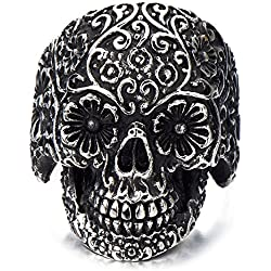 H+C Estilo gótico- Cráneo- Acero inoxidable- Biker- Oxidado Negro