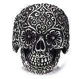 H+C Estilo Gótico- Anillo de Hombre- Calavera de azúcar- Cráneo- Acero Inoxidable- Biker- Oxidado Negro(10)