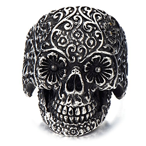 H+C Estilo Gótico- Anillo de Hombre- Calavera de azúcar- Cráneo- Acero Inoxidable- Biker- Oxidado Negro(9)