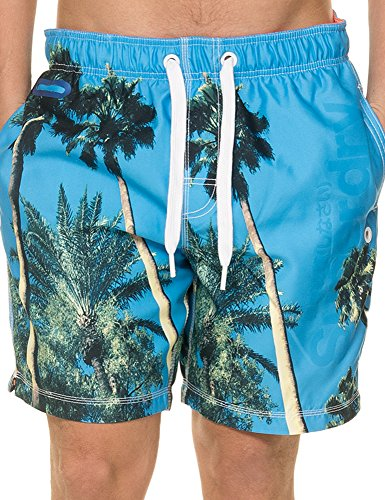 Superdry Premuim Neo Photo Swim, Short Homme blue