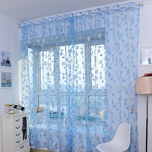 aihometm window screening curtain drape with peony flower pattern floral glass voile tulle for bay window bathroom shower room divider blue100cm x 200cm