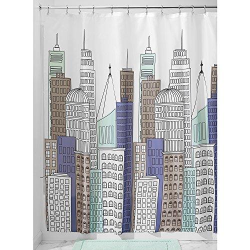 iDesign Skyline Duschvorhang | 183,0 cm x 183,0 cm großer Badewannenvorhang mit tollem Print | strapazierfähiger Duschvorhang mit Ösen | Polyester blau/grau