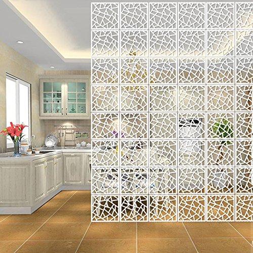 HOTOOLME 9 12 Stück Weiß DIY Raumteiler Screen aus Holz-Kunststoffplatte Raumtrenner Hängeleinwand Paravent Trennwand für Haus Dekoration -
