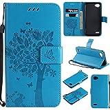 Flip Brieftasche Hülle für LG Q6/LG G6 mini/LG Q6 plus,Gostyle PU Leather Blau Case Geprägt Baum Schmetterling Blume Muster Buch Stil mit Karte Schlüssel Magnetisch Schließung Stand Handyhülle