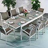 Florence Tisch & 8 Stühle - WEIß & CHAMPAGNERFARBEN | Gartenmöbel-Set mit ausziehbarem 240cm Tisch