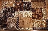 Karatcarpet Moderner Teppich Kurzflor Kollektion Gold 369/12 Beige, Braun, Muster: Patchwork. (300x400 cm)