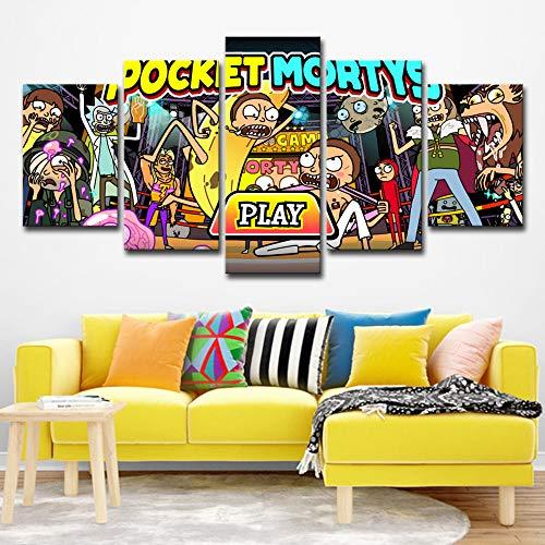 Leinwand Hd Drucke Bilder Wohnkultur 5 Stücke Rick Und Morty Gemälde Abstrakte Anime Spiel Poster Wohnzimmer Wandkunst kein rahmen XL: 14X21-2P14X28-2P 14X35-1P