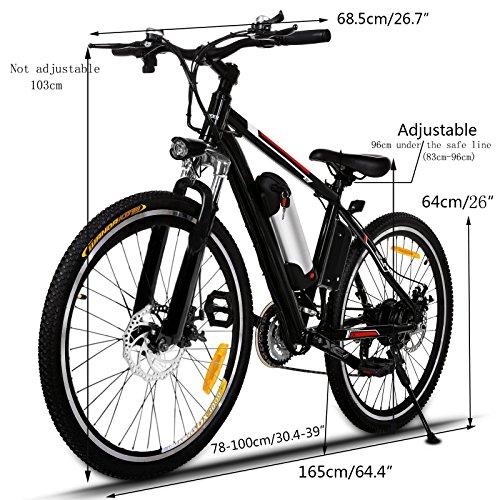 AMDirect Elektrofahrrad mit 26 Zoll Mountainbike 250W 25KM/H Pedelec E-Bike mit 8AH Lithium-Akku 21 Gang Getriebe Schwarz